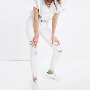 Madewell White Raw Hem Distressed Denim Jeans